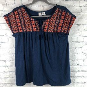 NWT Artisan NY Boho Embroidery Beaded Blouse Top